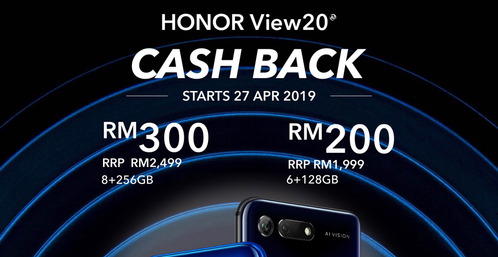 HONOR View20限时优惠:提供高达RM300现金回扣! 1