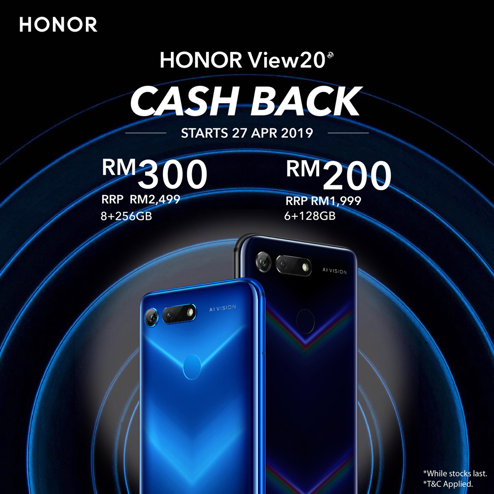 HONOR View20限时优惠:提供高达RM300现金回扣! 2