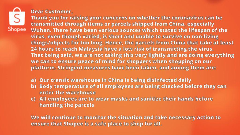 网传中国包裹带武汉肺炎病毒,Shopee发声明辟谣 1