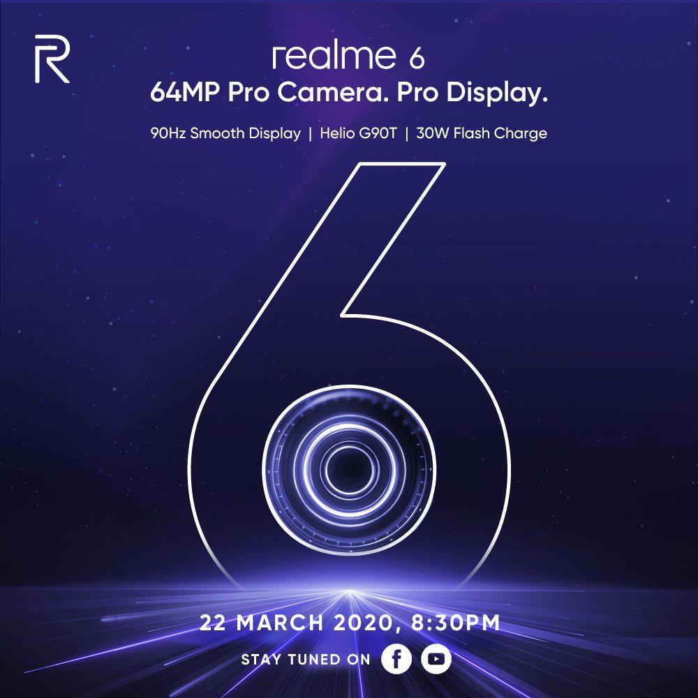 大马realme 6将在3月22日线上直播发布 1