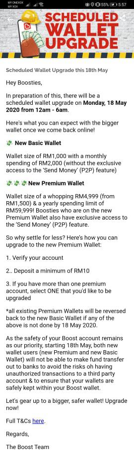 Boost电子钱包5月18日起不能转钱至银行账户