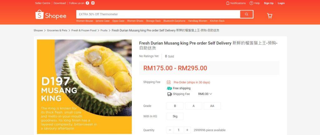 Shopee卖榴莲:售价低至RM0.66?!