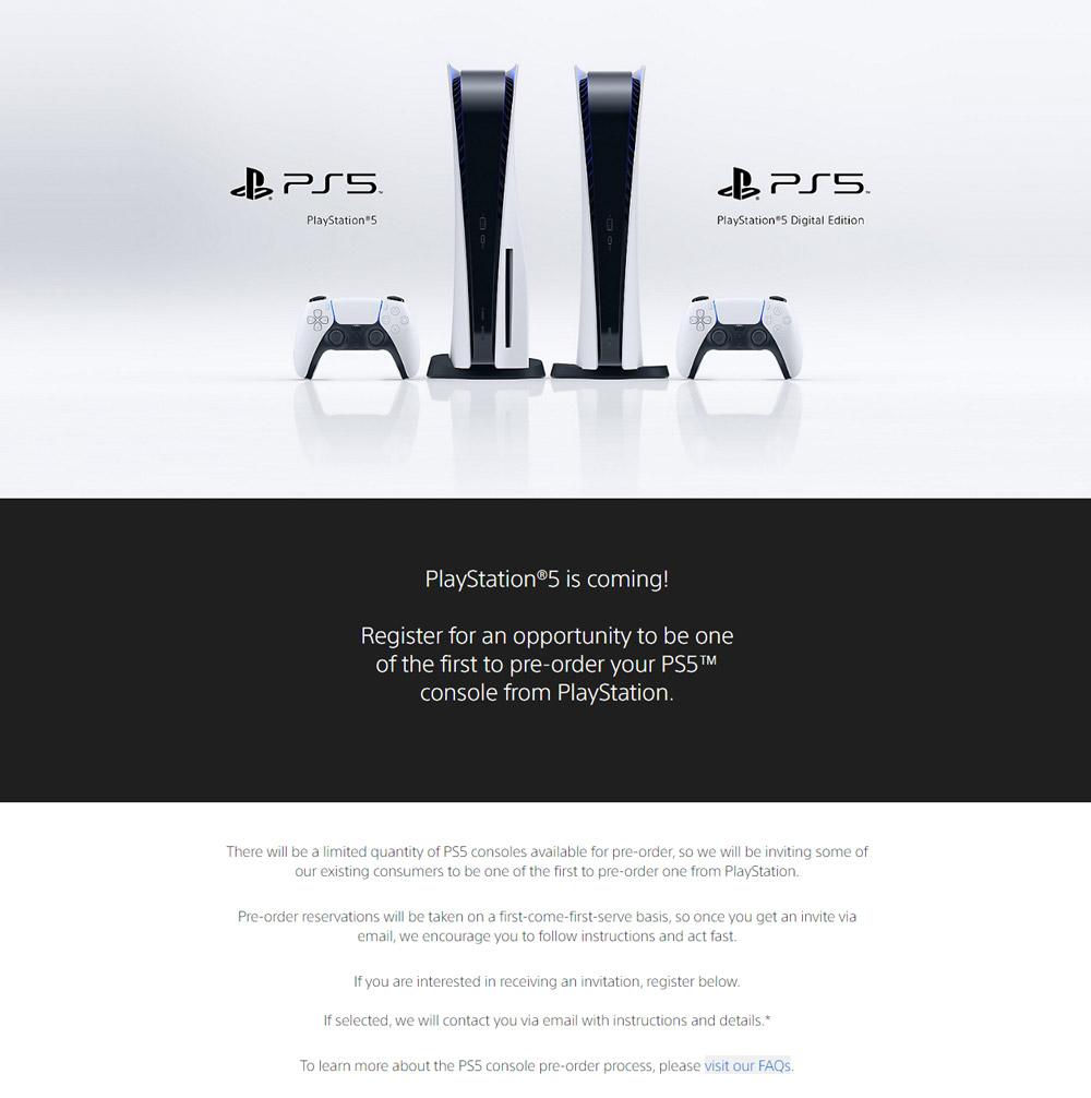 Sony PS5在美国开启预购