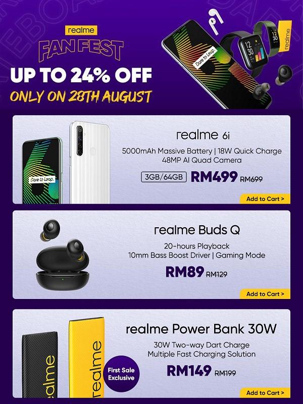 realme超级品牌日8月28日开跑:买手机送高达RM1425赠品! 8