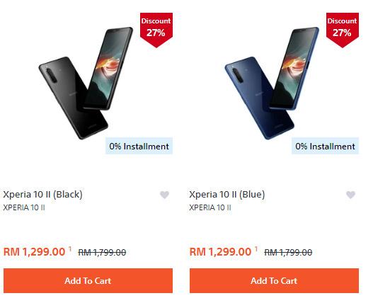 Sony Xperia 10 II售价插水RM500