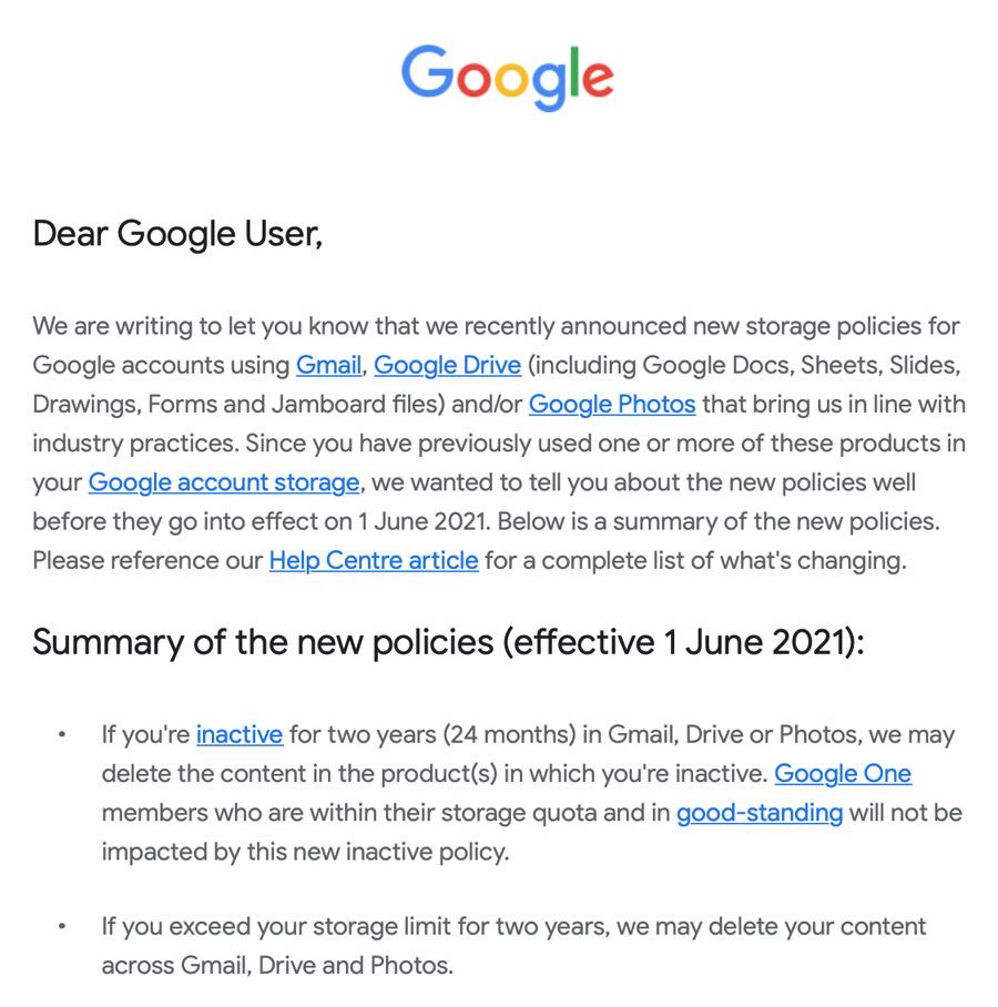 Gmail闲置2年以上