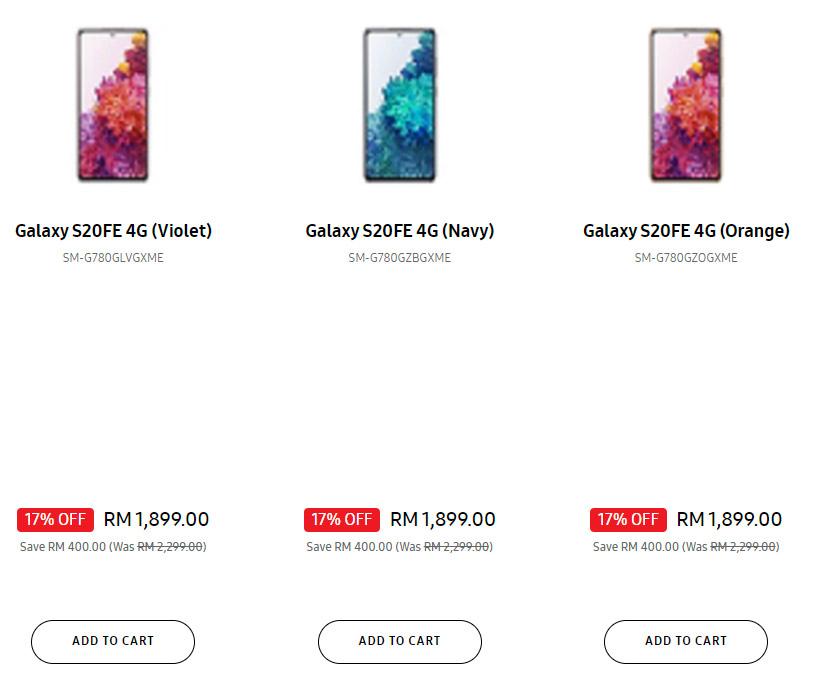 Samsung S20 FE 骁龙865 4G版限时优惠RM1899