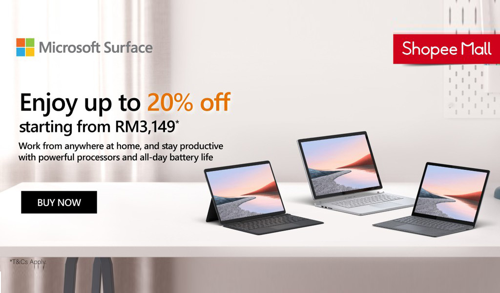 通过Shopee购买Microsoft Surface系列笔电,享有优惠价格,现金回扣,金币返还等优惠,节省高达RM1487! 1