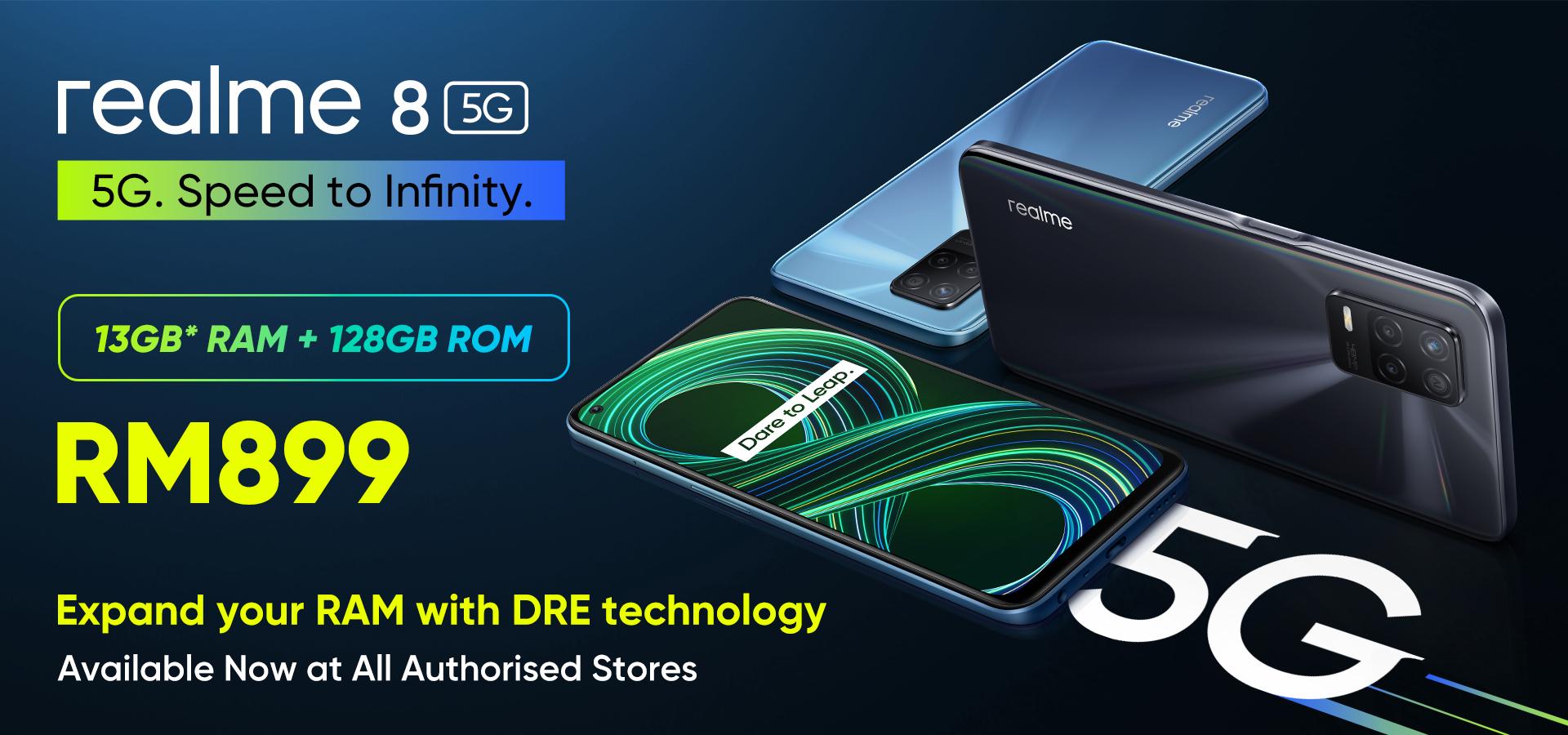 realme 8 5G 搭载DRE动态内存拓展技术,如今可以在Celcom签购并获取免费手机! 9