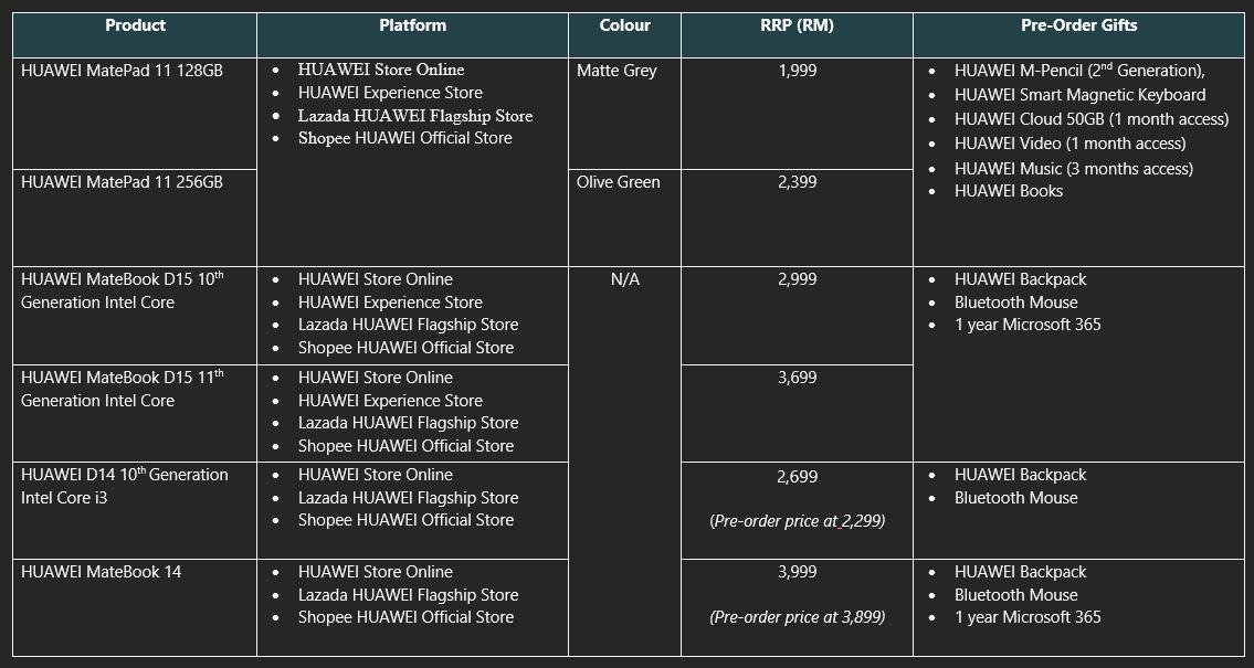 大马HUAWEI MatePad 11发布,售价RM1999起 3